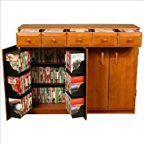 Venture Horizon CD DVD Media Storage Cabinet With Drawers, Available in Multiple Finishes - Walnut/Black