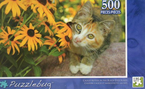 Calico Kitten in the Black-eyed Susies -500 Pc Jigsaw Puzzle - NEW