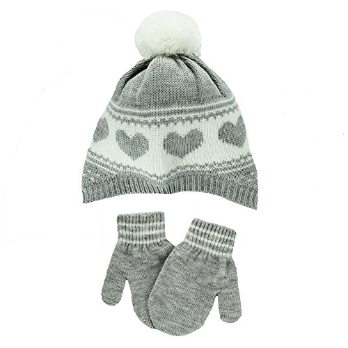 Carter's Infant Girls Knit Winter Ski Hat and Mittens 12-24 Mths Heather Grey
