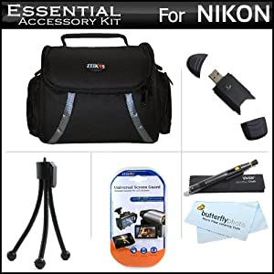 Essentials Accessory Bundle Kit For The Nikon D5200, D3200 D3100 D5100 D5000 D3000 D7000 D600 D7100 Digital SLR Camera Includes Deluxe Carrying Case + High Spped 2.0 USB SD Card Reader + LCD Screen Protectors + Mini Tripod + Lens pen Cleaning System
