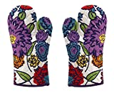Miyanbazaz High Quality Microwave Oven Pad Heat Proof Hand Gloves In Set Of 2 Gloves (Blue-Multi)