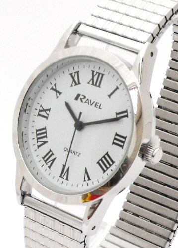 Mens/Gents Silver Roman Numerals Expanding/Expander/Expansion Bracelet Band Watch (R0201.14.1)