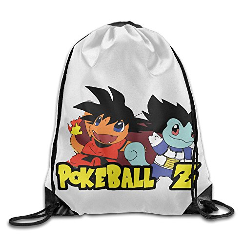 Poke Dragon Ball Z Son Goku Charizard Squirtle Bag Shoulder Drawstring Gym Drawstring Sport Backpack White One Size