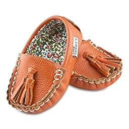 Mango Tango Leather and Fabric Moccasin Shoes (12-18 Months)