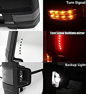 2x Manual Backup+Smoke LED Turn Lamp Blk Tow Mirror For 88-00 Chevy GMC C//K