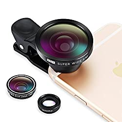 3 in 1 Fisheye Lens + Macro Lens + 0.4X Super Wide Angle Lens, Amir Clip On Cell Phone Lens Camera Lens Kits for iPhone 6S,6,5S,Galaxy and All Other Smartphones