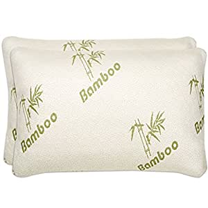 Amazon Com Shredded Memory Foam Pillow With Bamboo Cover