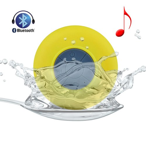Allmet Waterproof Wireless Bluetooth Stereo Shower Speaker, Mini Ultra Portable Handsfree Speakerphone With Built-In Mic. Compatible With All Bluetooth Devices Iphone And All Android Devices (Yellow)