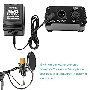 YueYueZou® 48V Phantom Power Supply Standby Power for Condenser Microphone Music Recording Equipment