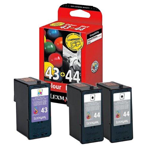 3x Original Tintenpatrone für Lexmark X 9350, 9350 Business Edition, Nr. 43, Nr. 44 - 2x BLACK, 1x Color + 100 Blatt Ti-Sa Fotocards 10x15 cm 210g glossy