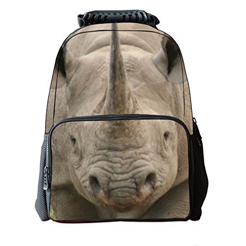 fantec-filz-stoff-schule-rucksack-3d-tier-print-cute-laptop-wandern-daypacks-406-cm-rhinoceros