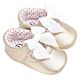 Baby Girls Mary Jane with Bowknot Princess Dress Shoes Crib Shoes for Photos Golden Size M