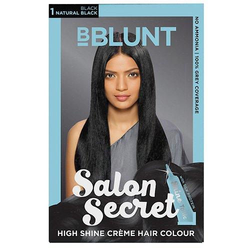 BBLUNT Salon Secret High Shine Creme Hair Colour, Natural Black 1, 100g With Shine Tonic, 8ml