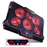 KEYNICE Laptop Cooling, 12-17 inch Laptop Cooling Pad, Laptop Cooler with 6 Quiet Fans, Dual USB Port, 5 Wind Speed Adjustable, Red LED Light, Gaming Cooling Fan for Laptop, Portable Notebook Cooler (Color: Red)