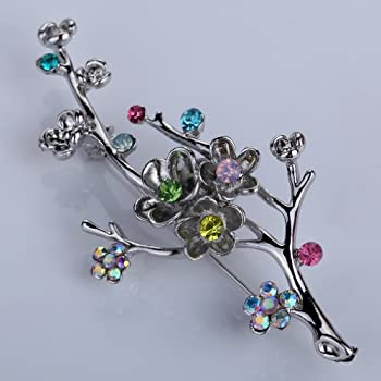 Yazilind Vintage Branch Flower Leaves Colorful Crystal Gold Plated Brooches and Pins for Wedding Bouquet
