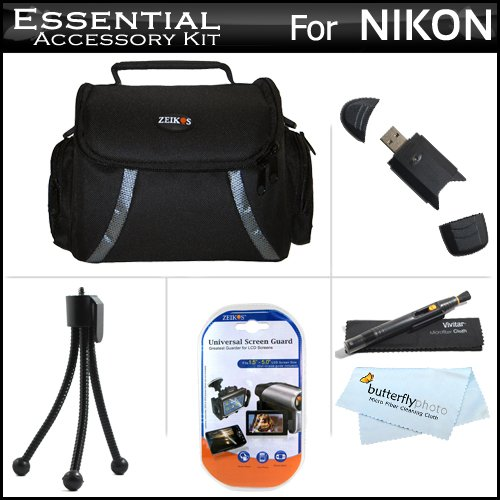 Essentials Accessory Bundle Kit For The Nikon D3100 D5100 D5000 D3000 D7000 Digital SLR Camera Includes Deluxe Carrying Case + High Spped 2.0 USB SD Card Reader + LCD Screen Protectors + Mini Tripod + Lens pen Cleaning System