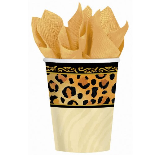 Amscan Disposable Paper Cups in Safari Chic Style Print (8 Pack), 9 oz, Black/Brown/Orange