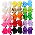 Chiffon 4.5in Solid Baby Girls Clip Hair Bows Large Set Of 15 Color