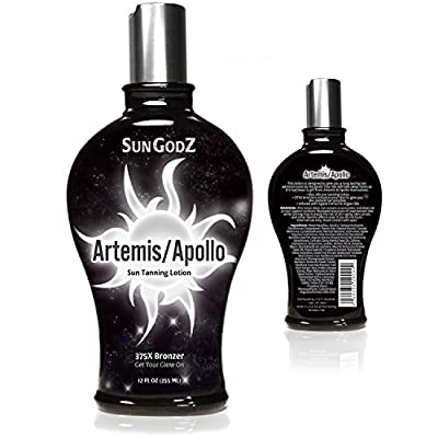 Apollo/Artemis Tanning Lotion with 375X Bronzer (Tatto-Safe) - Quick & Longer Lasting Tan - With Argan & Coconut Oil & Agave - Max Silicone Hydrates Skin - For Indoor & Outdoor Tanning - Men & Women