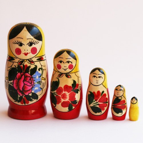 "Semenov Russian Nesting Doll 5pc./4"" - 1"