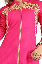 Feather Touch Women's Cotton Kurti (FT3524RN3_Pink_40)
