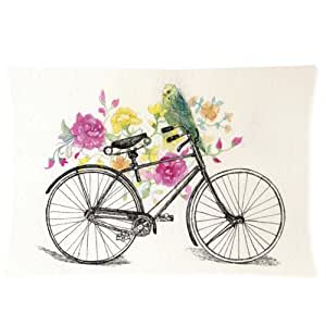 Vintage bicycle and flower floral art zippered for 70 bike decoration