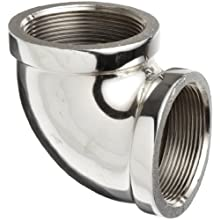 "Merit Brass Chrome Plated Brass Pipe Fitting, 90 Degree Elbow, 1/2"" NPT Female"