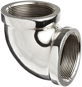 "Chrome Plated Brass Pipe Fitting, 90 Degree Elbow, 1/2"" NPT Female"