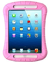 iXCC ® Shockproof Silicone Case Cover for iPad Mini, Mini 2, Mini 3, Extreme Heavy Duty [Drop Proof, Kids Proof, Shock Proof, Anti slip] High Quality Rubber Soft Gel Material Offers Robust Protection for Kids, Baby, Children, Boys and Girls [Pink]