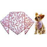 "Sparkle Candy Canes Dog Bandana (L) Ties on 14""-22"" Neck"