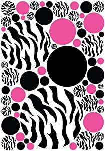 Zebra print polka dot wall decals with hot for Zebra print and red bathroom ideas