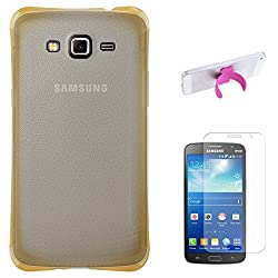 DMG Ultra Thin Flexible TPU Extra Protection and Grip Back Cover Case For Samsung Galaxy Grand 2 G7102 (Golden) + Touch U Silicone Stand + Matte Screen