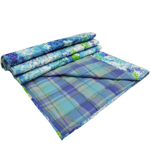 Cotton Baby Quilt Crib Size Gudri Decorative Blue Floral Pattern Reversible Bedspread Throw India front-28181