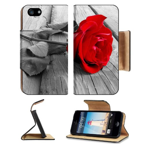 Red Rose Front And Center Apple Iphone 5 Flip Cover Case With Card Holder Customized Made To Order Support Ready Premium Deluxe Pu Leather 5 3/16 Inch (132Mm) X 2 11/16 Inch (68Mm) X 9/16 Inch (14Mm) Msd Iphone 5 Professional Cases Touch Id Gold Spec Acce