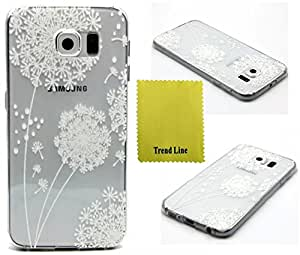 Samsung Galaxy S6 Case ,Trend Relief Flower Printed Design Rubber Gel Skin Silicone Case Soft Cover Protective For Samsung Galaxy S6 + Free Cleaning Cloth With Trend Line Trademark gifts,Not Fit For Samsung Galaxy S6 Edge