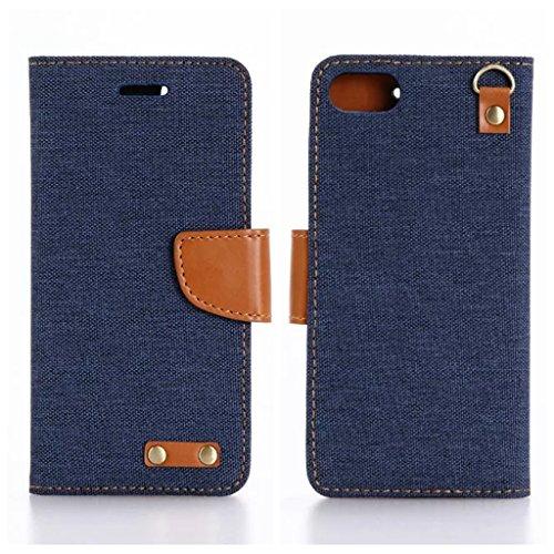 iPhone 7 Plus ケース デニム柄 シンプルな手帳型PUケース iphone7 plus スマホカバー 横開き フリップケース カードホルダー かわいい おしゃれ 人気 携帯ケース Denim 手帳 スタンド iPhone ケース ドコモ アイフォン7プラス 5.5インチ専用 スマホケース ストラップホール付 保護ファイルプレゼント (iPhone 7 Plus(5.5インチ), ブルー)