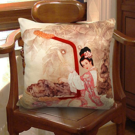 Fablegentxh2013 - Elegant Decorative Throw Pillow Cover - Ancient Chinese Beauty Design On Both Sides front-555565