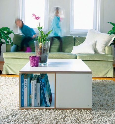 gube tavolo da salotto, 74x 74x 42cm, Bianco della natura