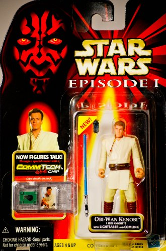 1999 - Hasbro - Star Wars - Episode I - Obi-Wan Kenobi (Jedi Knight) w/ Lightsaber & Comlink Action Figure - Comm Tech Chip - Collection 1 - New - Out of Production - Limited Edition - Collectible
