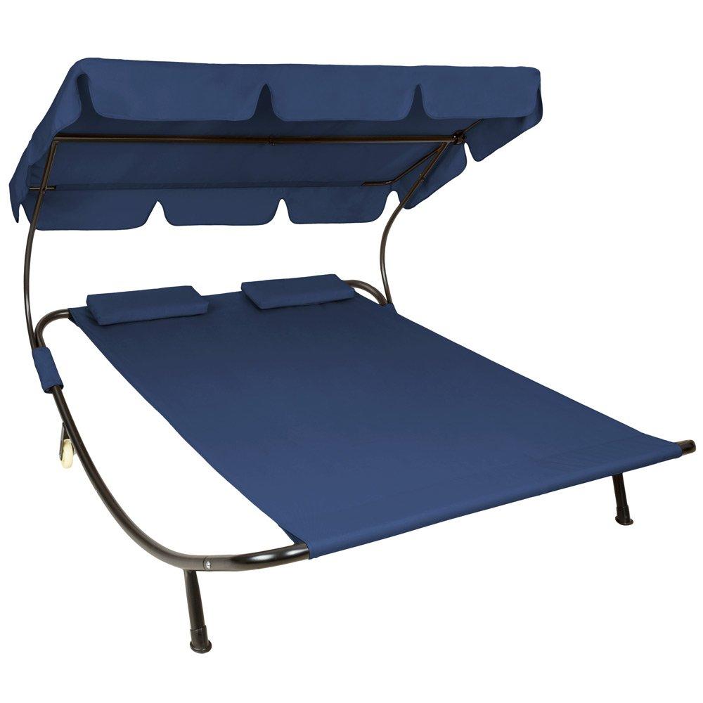 TecTake Sonnenliege Gartenliege Doppelliege mit Sonnendach + 2 Kissen blau für 2 Personen jetzt bestellen