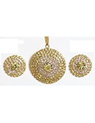 Yellow And White Stone Studded Round Shaped Pendant And Earrings - Stone And Metal