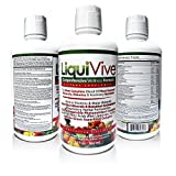 LiquiVive Liquid Vitamins Nutritional Supplements. The BEST and Most Complete Anti-Aging Whole Food Daily Multivitamin Dietary Supplement. With Whole Green Superfood Complex, Fruits and Vegetables, Herbal Infusion and Botanical Antioxidants. No Pills, Tablets Or Powders To Swallow. Gluten Free and Vegetarian. Supports Natural Nootropic Energy & Brain Focus. 30 fl oz.