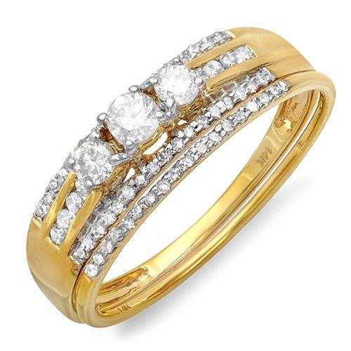 0.40 Carat (ctw) 14k Yellow Gold Round Diamond Ladies Bridal Ring Engagement Set