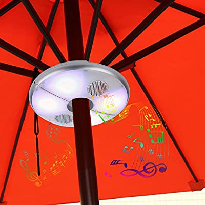 KINGSTAR Patio Parasol LED Lights, Outdoor Rechargeable Umbrella RGB Color Changing Pole Lights Bluetooth Speakers Camping Tent Lamp with Power Bank for cell phone charging