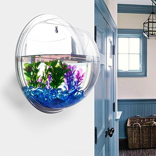 Homecube Wall Hanging Bubble Fish Tank Flowerpot Wall Mount Acrylic Fish Bowl Decoration with stones/plant(Mirror)