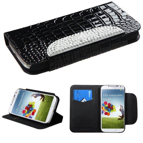 Phonetatoos (Tm) For Galaxy S 4 (I337/L720/M919/I545/R970/I9505/I9500) Black Crocodile Skin/White Diamante Belt Myjacket(571) (With Package) - Lifetime Warranty