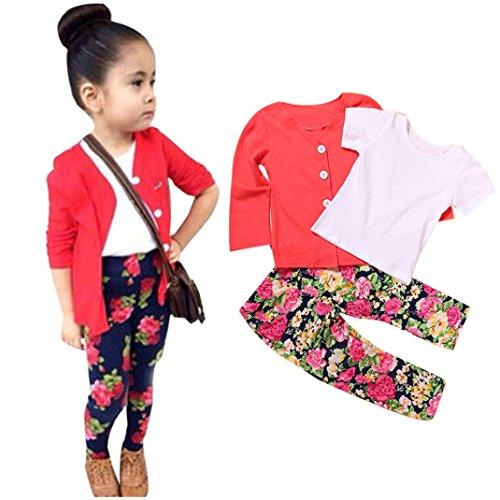 Culater® Ragazze dei capretti a maniche lunghe T-shirt pantaloni Top Coat Outfits (4T)