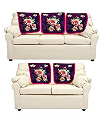 meSleep Purple Roses Sofa Cover - Set of 5