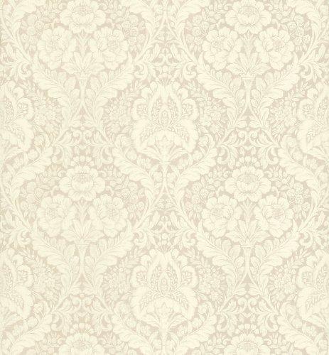 Beacon House 283-64022 Ink Medici Cream Damask Wallpaper