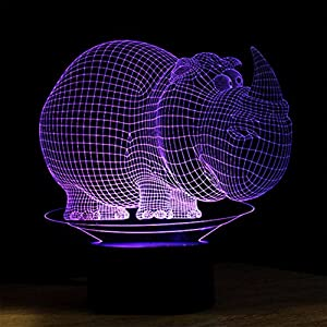 TonTong 3D Glow LED Lamp - 7 Colours Plus Flashing Mode Colour Changing 3D Visualization for Home Decor Room Art Sculpture 3D Glow Night Light With Touch Switch by T-3D